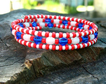 Valentine's kids, patriotic USA bracelet, boho jewelry, birthday gift for college students, best friend gift, beaded bracelet, coworker gift