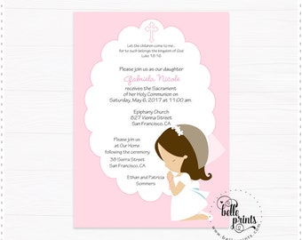 Personalized Pink First Communion Invitation Girl Kneeling