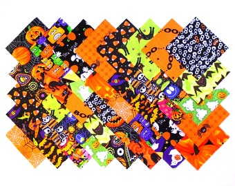 HALLOWEEN Prints 4 inch Squares,  100 % Cotton Prewashed, Quilt Block Fabric  (#123A)
