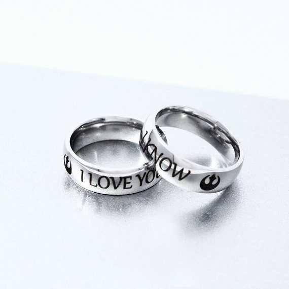 I Love You I know Ring Set Stainless Steel Couple Ring