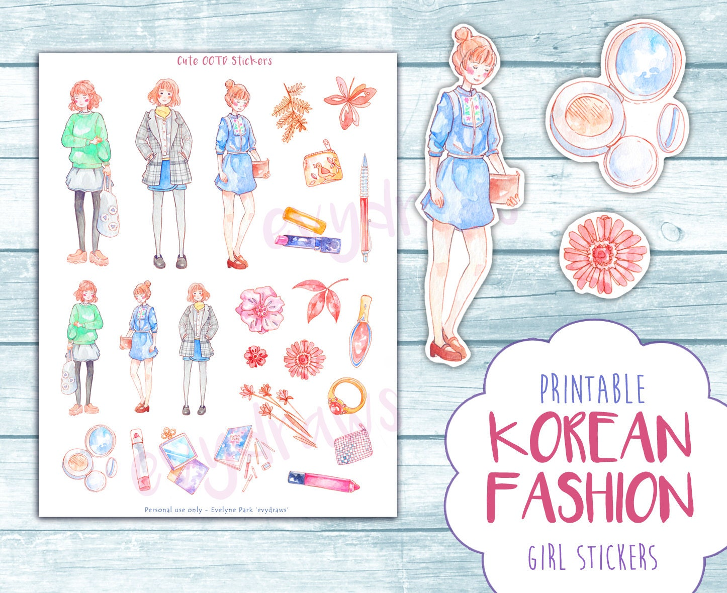 Printable Cute Fashion Stickers   OOTD sticker digital download ... for Cute Korean Printable Stickers  165jwn
