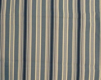 """Waverly Rodeo Dr Cotton Blue and Off-White Awning Stripe 36"""" x 56"""""""