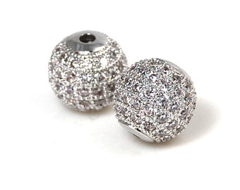 Clear Crystal Silver Cubic Zirconia Beads, 10mm Round