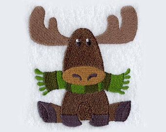 Moose with Scarf Tea Towel | Kitchen Towel | Embroidered Kitchen Towel | Personalized Kitchen Towel | Moose Lovers