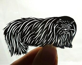 Original Pekingese Paper Cutting, Scherenschnitte, Pet Portrait, Dog Art