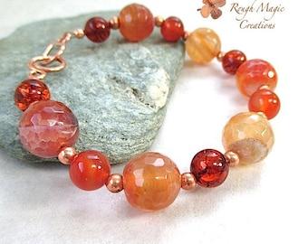 Colorful Gemstone Bracelet, Autumn Colors, Red Honey Gold Amber, Agate Carnelian, Semi Precious Gems, Fall Seasonal Gift for Women B551