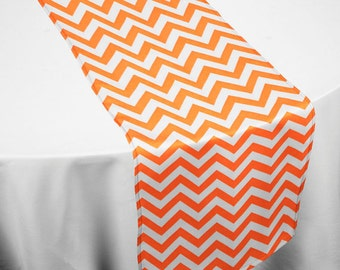 Orange Chevron Table runner, Halloween Table runner, Fall table runner, Halloween and Fall table decorations