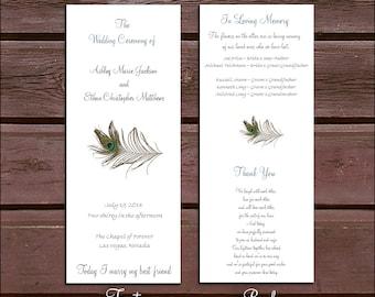 100 Peacock Feathers Wedding Ceremony Programs
