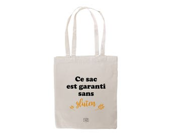 This bag is guaranteed without gluten Vegan veggie gluten free respect nature bio cotton ethical Shopping bag by decartonetdetoiles