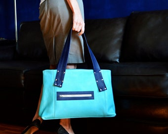 Large Leather Laptop Tote Bag for Work, Womens Business Bag, Minimalist Style Handbag with Shoulder Straps - The Grayson in Light Turquoise