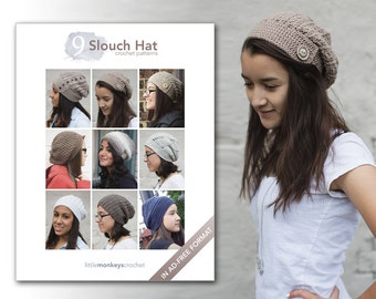 Slouchy Hat Crochet Patterns - 9 Pattern E-Book by Little Monkeys Crochet  |  slouch hat crochet pdf patterns, instant download
