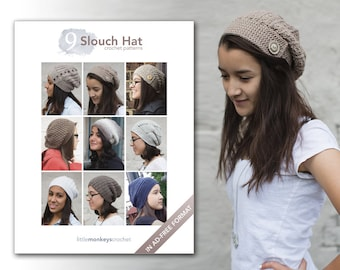 Slouchy Hat Crochet Patterns - 9 Pattern E-Book by Little Monkeys Crochet     slouch hat crochet pdf patterns, instant download