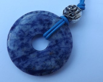 Sodalite pendant, mottled pendant, summer necklace, semi-precious donut pendant, ring pendant, leather pendant, blue donut pendant