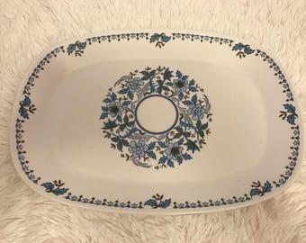 "Noritake BLUE MOON 13.75"" Oval Serving Platter Plate Progression Japan Flowers"