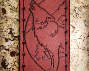 Leather Patch - Howling Wolf - Sew On Anything - hand made by American Made Upgrades