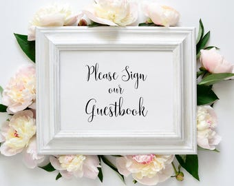 Printable Guestbook Sign - Calligraphy Script font - Instant Download - PDF Guestbook Sign - Wedding Printable - 5x7 inches - #GD2305