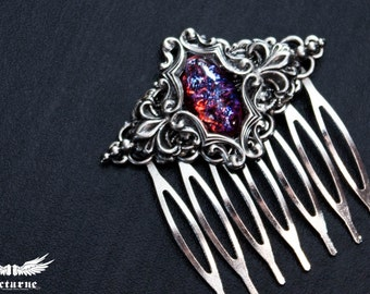 Victorian Hair Comb with Opal - Hair Accessories with Dragon's Breath Stone - Gothic Jewelry