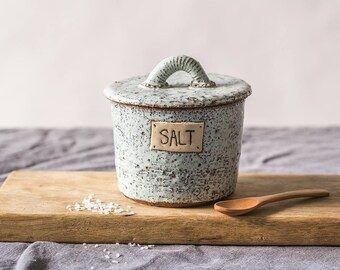 Ceramic salt cellar, Ceramic light blue receptacle, Pottery kitchen jar, Lidded salt canister, Housewarming gift, Pottery salt dish