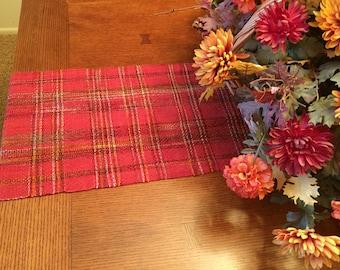 Pumpkin Table Runner, Hand Woven, Thanksgiving Runner, Fall Table, Wedding Gift, dresser scarf, handwoven, dinner table, table runners
