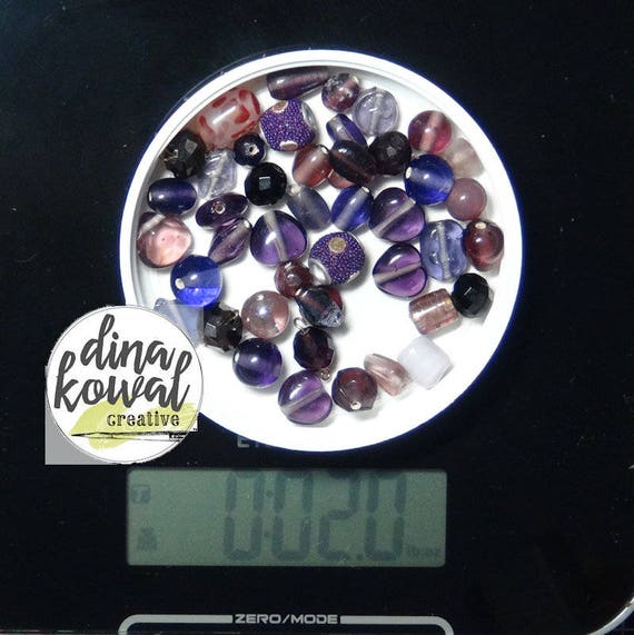 Destash - 2 oz. quality glass bead mix - purples
