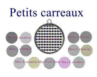 checkered Board of digital images for cabochon 25mm and 20mm and 18mm