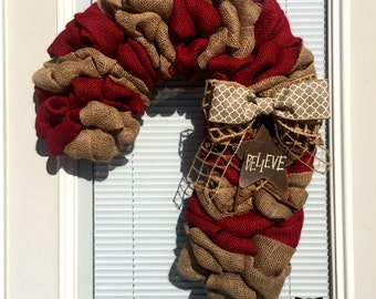 Candy Cane Christmas Wreath - Winter Wreath, Natural,  Red Candy Canes, Holiday Burlap Wreath - Candy Cane Burlap Wreath - Candy Cane Wretah
