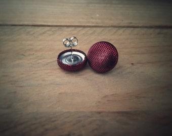 Red Earrings. Metallic Earrings. Red Metallic. Handmade Earrings. Fabric Button Earrings. Stud Earrings. Clip On Earrings. Drop Earrings.