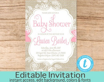Burlap and Lace Baby Shower Invitation, Pink Burlap Baby Shower invitation, Burlap Invitation, Lace Invitation, Editable Instant Download