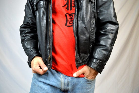 Rocker Vintage Motorcycle Leather Hand Painted Biker Coat Eagle 90s Jacket 1994 4cZ80arP4