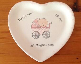 Hand Painted Ceramic Heart Baby Plate - Baby in Pram