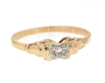 Vintage Promise Ring, Mid Century Yellow Gold Diamond Ring, Vintage Engagement Ring