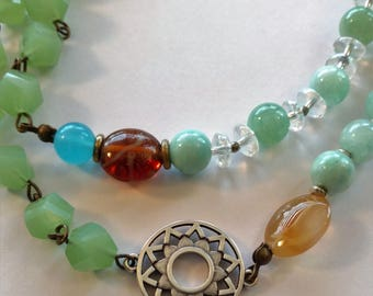 Crown Chakra pendant with vintage glass and stones