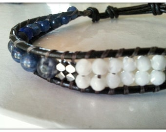 Leather men's bracelet with Sodalite, shell and Hematite