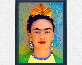 Frida Kahlo portrait of oil in the style of impressionism digital download