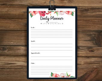 Printable Daily Planner, A4 Daily planner, Printable Planner 2017, Floral Planner, Daily Planner