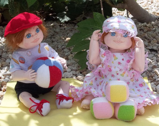 "KB102E – Megan and Max, 16"" Toddlers Cloth Doll Pattern"