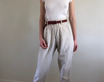 80s high waisted pleated cotton chinos / baggy khaki pants / tapered cropped trousers | 28W
