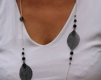 Leaves and black bow tie necklace