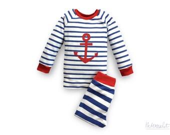 toddler pajama set, toddler boy pajama, nautical boys pjs, organic cotton 2 piece pajama set, boys sleepwear set, striped anchor pajama