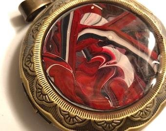 Hand painted fluid art Pendant necklace, wearable art, acrylic pour, antique bronze, one-of-a-kind