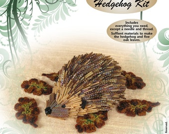 Bead Embroidered Hedgehog Kit with Oak Leaves
