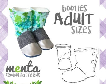 Adult Menta Booties Slippers Boots PDF Sewing Pattern and Tutorial 5.5-12 US Women 7 sizes