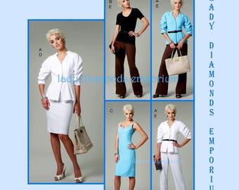 Vogue V8718 Womens Dress Sweetheart Neckline Skirt Pants Jacket Top size 14 18 16 20 Bust 36 38 40 42 Plus Size Sewing Pattern 8718 Uncut FF