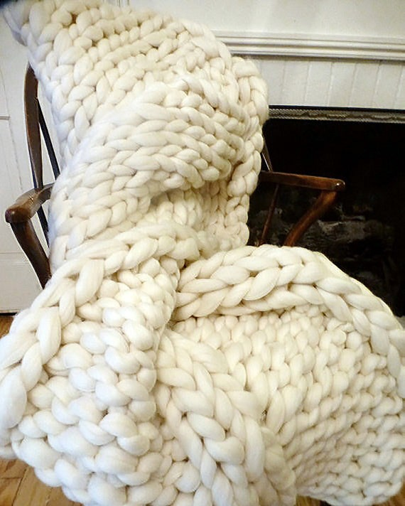 Chunky Blanket, 32x54,Merino, Natural, Hand Knit, Special Pattern, Reversible