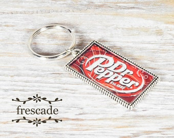 Dr Pepper Keychain Recycled Soda Can