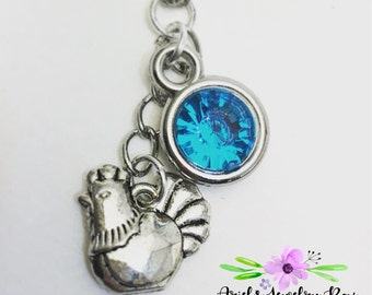 Year of the Rooster Birthstone Charm Necklace Custom Handmade with optional initial
