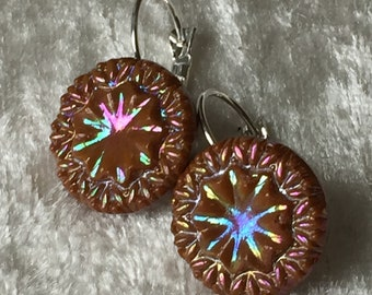 Vintage Art Deco Fancy Brown and Rainbow Glazed 16mm Button Earrings