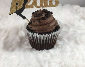 Graduation Cupcake Toppers | Class of 2018 | Congrats | Graduation Decor | Black and Gold | Graduation Party