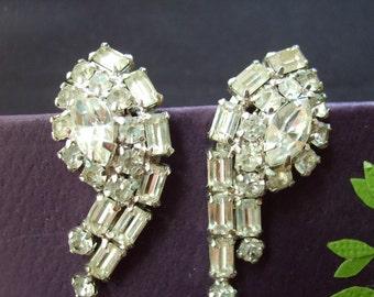 Vintage Earrings, Rhinestone Clip Earrings by Kramer of NY, Designer Costume Jewelry
