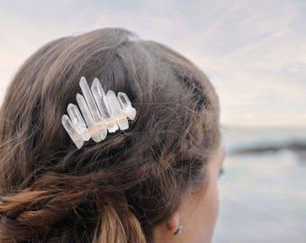 Quartz Crystal Comb, Custom Wedding Comb, Gold Crystal Comb, Silver Crystal Comb, Bridal Comb, Braid Jewelry, Quartz Comb, Bridal Hair Comb